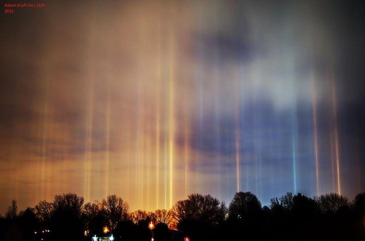 Los pilares de luz son relativamente frecuentes en las regiones frías del planeta.