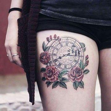 Grandes Difuminados En Tatuajes De Rosas Con Reloj Tatuajes Para