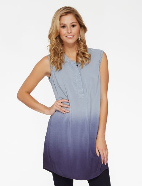 Ideal to layer over trousers or leggings, this ombre sleeveless shirt has a covered button placket front.