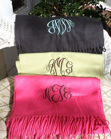 Monogram Scarf  Monogrammed Scarves from The Palm by thepalmgifts, $22.00