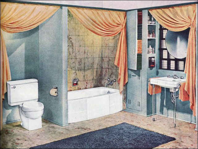 1947 Crane Bathroom   Soothing Peach And Blue Mid Century Bath   Retro  Interior Design Love All The Swag Curtains! Part 50