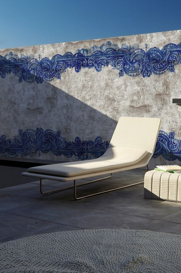 blue powder outdoor wallcovering by Wall & Decor ..would have been great for the cement wall at our old pool ..slr