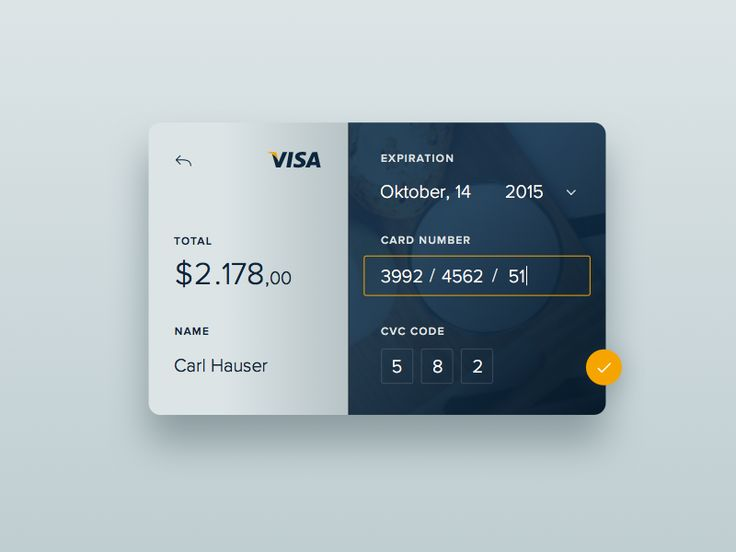 Dribbble - Day 2 - Credit Card Checkout by Carl Hauser