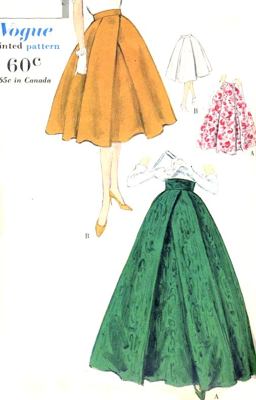 1950s BEAUTIFUL Evening or Day Skirt Pattern VOGUE 9735 Includes Petticoat Waist 28 Vintage Sewing Pattern