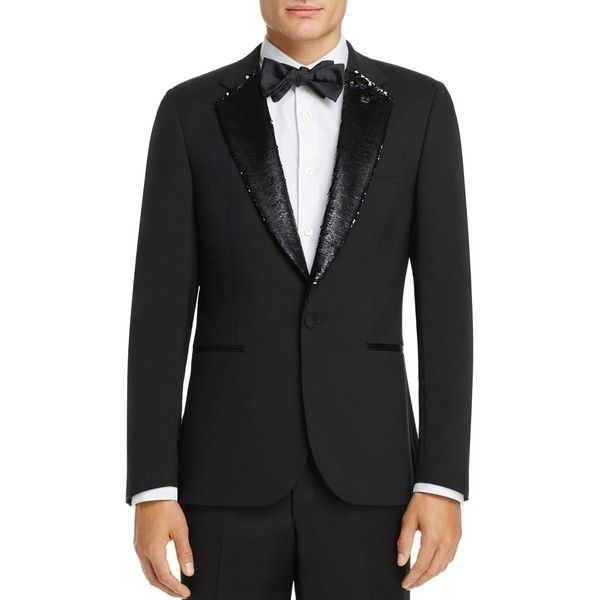 Paul Smith Sequin Lapel Slim Fit Tuxedo Jacket ($1,095) ❤ liked on Polyvore featuring men's fashion, men's clothing, men's suits, black, mens slim suits, slim fit mens clothing, mens sequin suit, mens slim cut suits and paul smith mens clothing