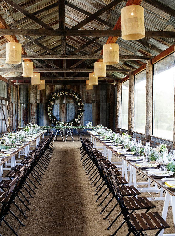 barn wedding venue london%0A rustic elegance barn wedding reception and fabric chandeliers    photographed and styled by Kara Rosenlund www