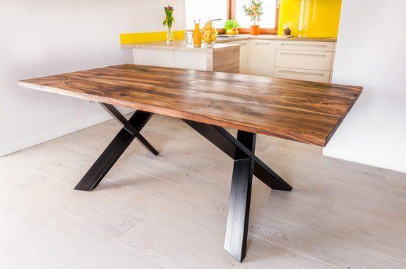 hand made royal walnut dinning table industrial table steel x legs rh pinterest com