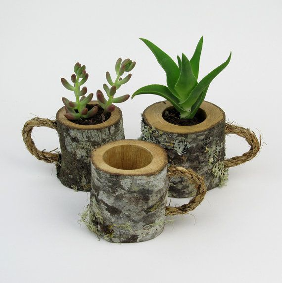 This listing is for ONE log mug. ***Plants NOT included*** Log coffee mugs are 2 1/2 inches tall and vary between 2-3 inches in diameter. Made from green cut White Oak tree branches. These unique mini wood mugs make excellent succulent holders perfect for a home or desk decor, wedding centerpiece, gift or favor. Can also be used for table number holder or place card holder. By cutting our branches green and sealing the inside and ends of our items, we have minimized the cracking of the…