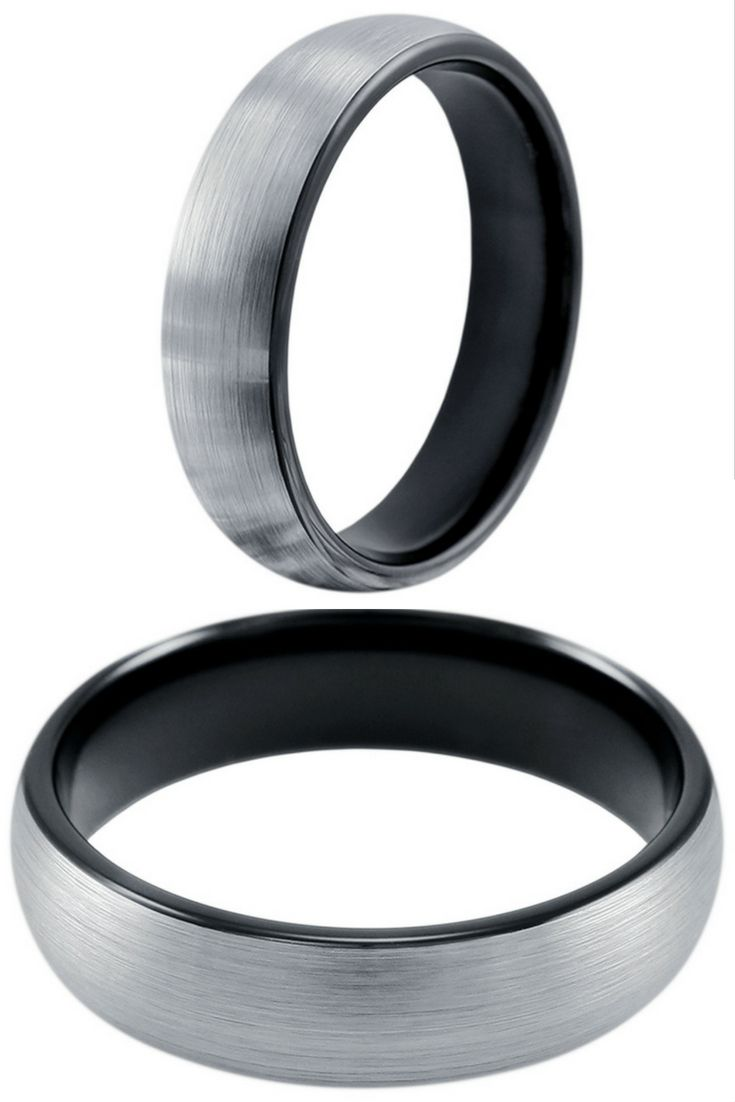 6mm or 8mm Mens Black and Silver Brushed Tungsten Wedding Band. I love the high polish interior of this ring. I have to get my future husband this ring!