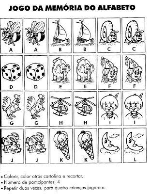 Jogos da Memória para Imprimir e Recortar - Desenhos Para Colorir