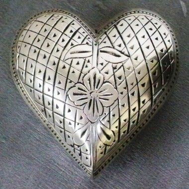 UrnsDirect2U Silver Flower Heart Keepsake Urn - 9885