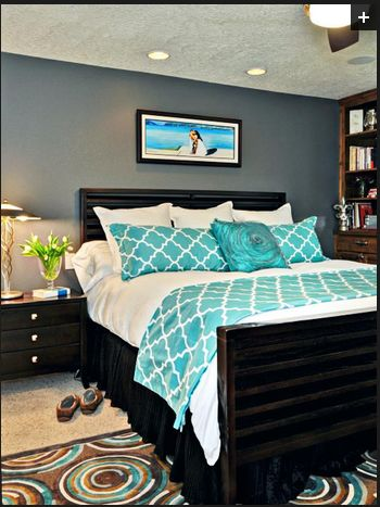 Blue, gray, turquoise bedroom