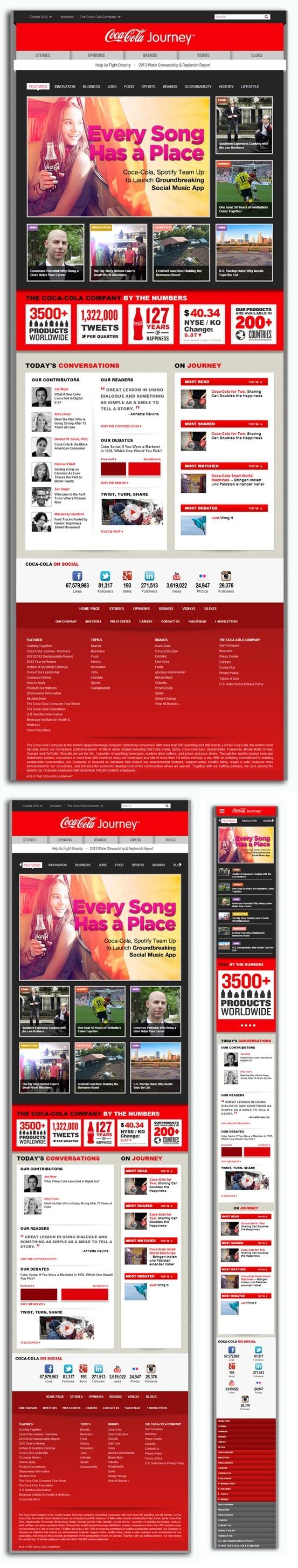 coca-colacompany.com  Diseño: 5, Responsive 5, Navegación: 5 Contenido:5 Usabilidad: 5, Scroll:4