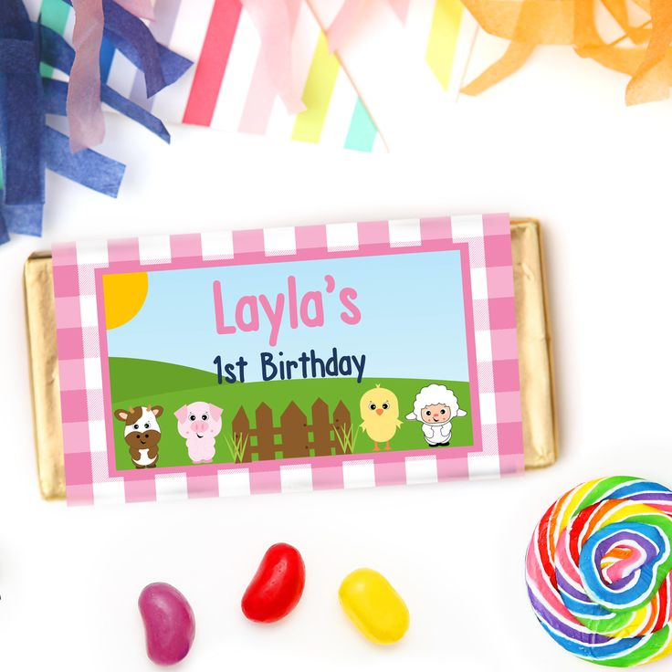 Pink Barnyard Farm Chocolate Bars - Personalised Girls Farm Party Favours Chocolates - perfect for a pink barnyard party theme.  Click here for details on website and for more matching farm party stationery from Print & Party. #farmparty  #barnyardparty