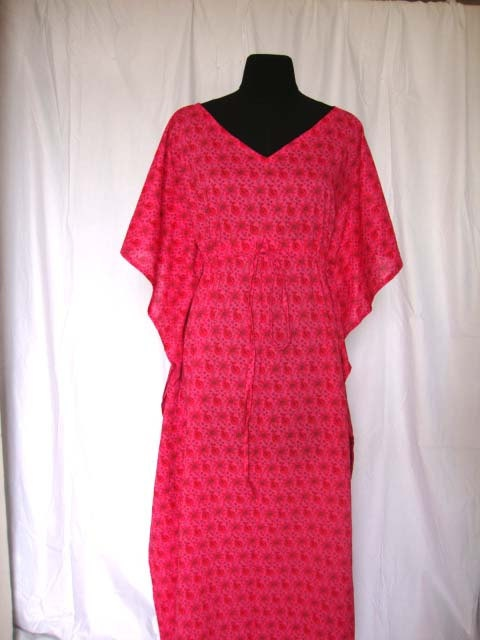 Perfect dress for Spring/Summer & my frozen left shoulder : ) Long paisley print Kaftan  Cotton long dress Spa robe by Dollyjos, $35.00