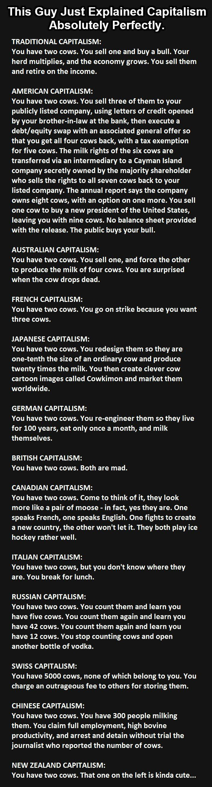 Brilliant: Versions of capitalism in each country perfectly explained by using cows | Young Conservatives