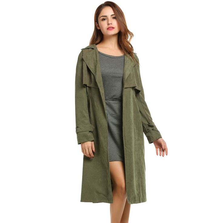 Women Long Coats Loose Single Breaster Lightweight Trench Coat, Pink, Green