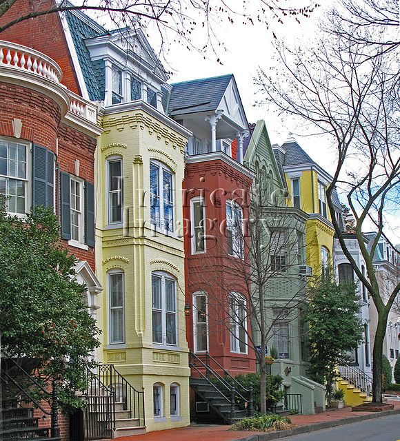 Colorful Row Houses in Georgetown, Washington DC