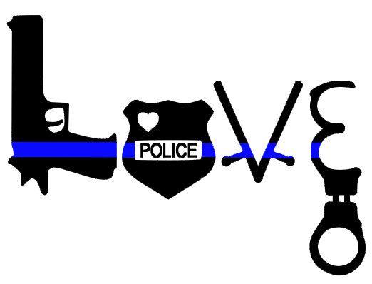 Thin Blue Line Love Police Decal Gun Badge Baton Handcuffs TBL Car Decal by JadeAndLemon on Etsy
