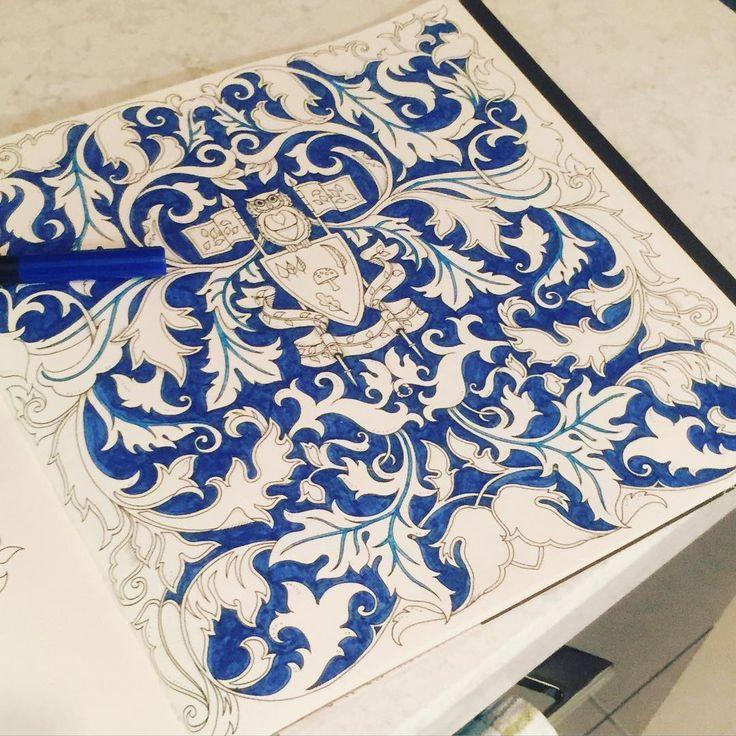 Mutfak tezgahında sanat  #art #artwork #artwork #book #bird #brightcolors #blue #color #coloringbook #coloring #draw #drawing #enchantedforest #gizemliorman #hobby #johannabasford #kuş #baykuş #kitap #leaf #owl #painting #renk #renkler #relax #secretgarden #terapi #therapy #yaprak #mavi