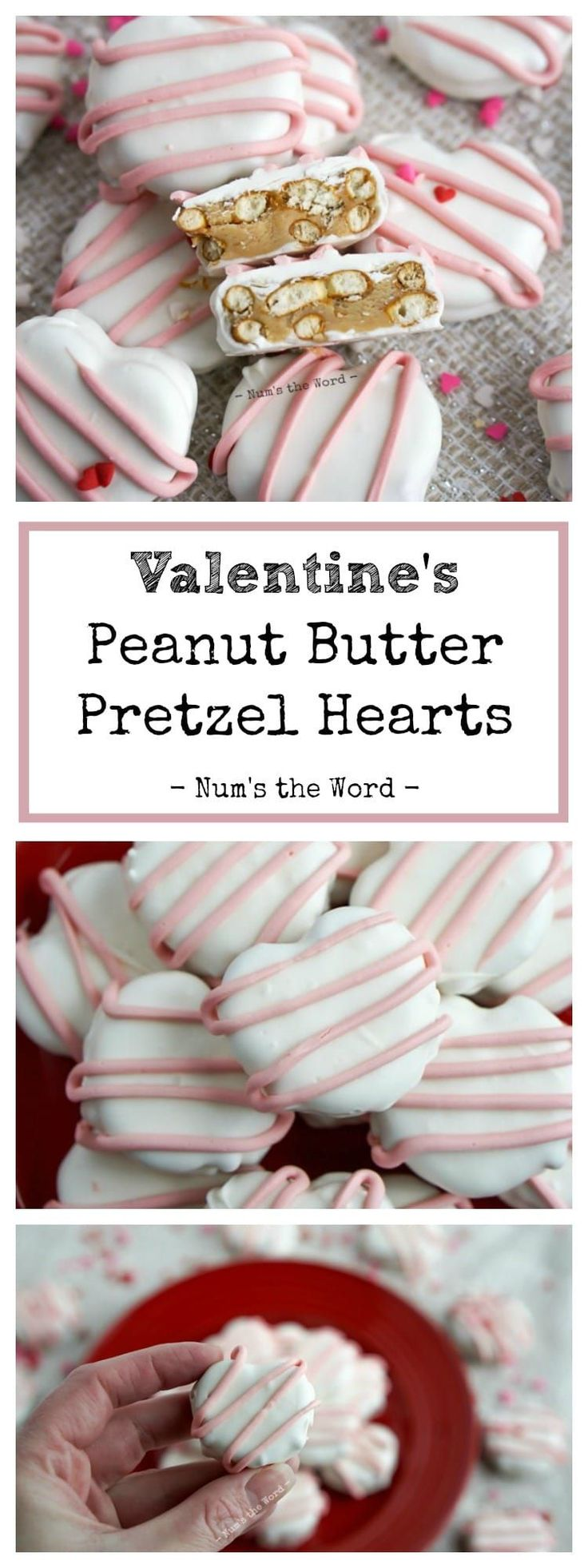 These Valentine's Peanut Butter Pretzel Hearts are the perfect treat for any Peanut Butter Cup lover! Two pretzels with a peanut butter cup mixture between them and dipped in chocolate make for a very tasty treat anyone would be lucky enough to get. #valentinesday #dessert #chocolate #peanutbutter #peanutbuttercup #pretzel #peanutbutterpretzels #whitechocolate #pink #pinkchocolate #babyshower #bridalshower #heart #heartshapedfood #valentinesfood #love #recipe #numstheword