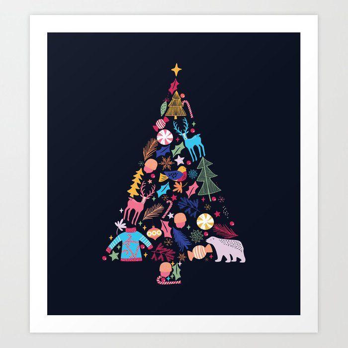 Magic Of A Christmas Tree Art Print By Happyplum Art Design Contemporary Wallart Modernart Artistsharing So Christmas Tree Art Tree Art Christmas Tree