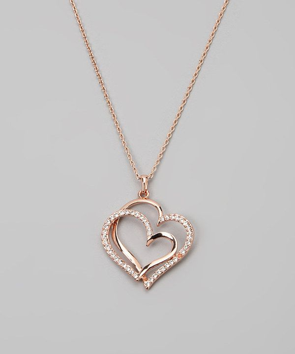 Look at this Rose Gold Double Heart Necklace Made With SWAROVSKI ELEMENTS on #zulily today!