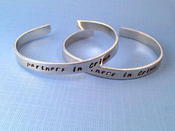 Partners in Crime Bracelet Set Hand Stamped door LaurenElaineDesigns