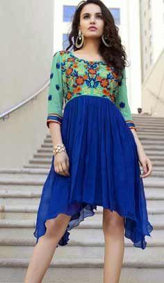 Fashionable Indian Blue Faux Georgette Kurti