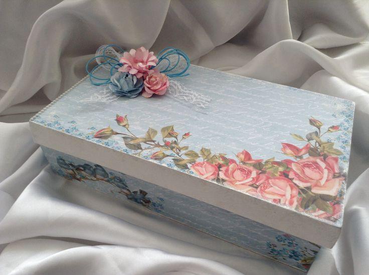Caixa azul- arte com scrapdecor