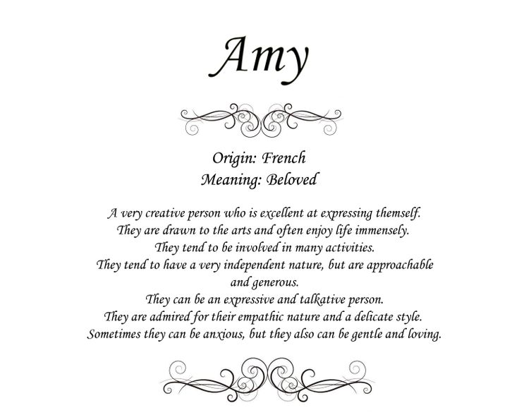 The meaning of the name Amy. Origin and meaning.