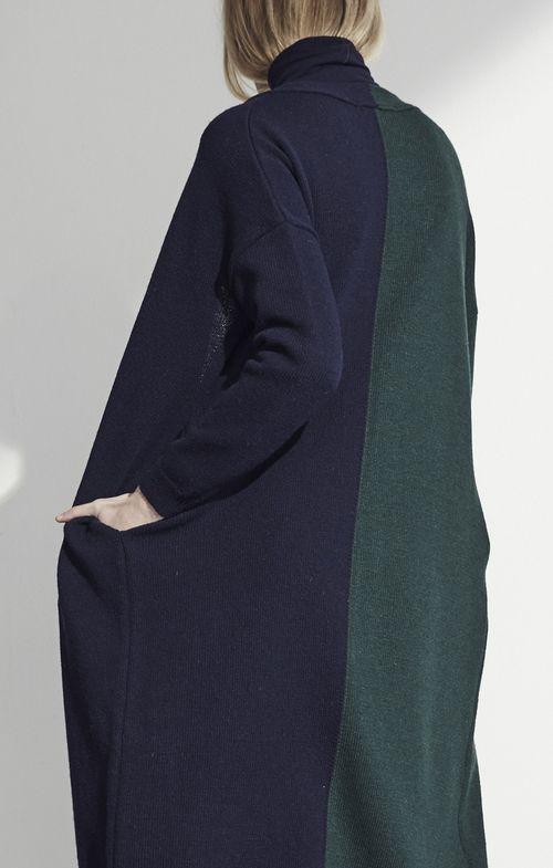 Color block long cardigan - navy/green
