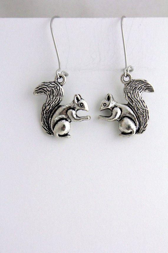 Squirrel Earrings, Woodland Creature Earrings, Squirrel ...