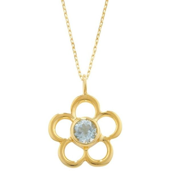 London Road Jewellery Blossom Birthstone Yellow Gold Aquamarine Pendant Y6rvb4LW