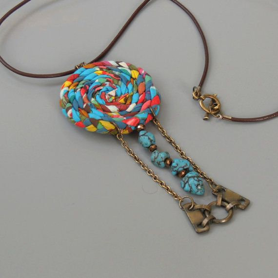 Long Pendant Necklace – Turquoise BohoTassel Statement Necklace / Upcycled