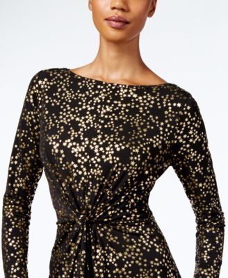 Michael Michael Kors Petite Metallic Star-Print Dress - Gray P/XS