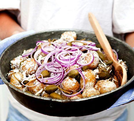 Färskpotatissallad med pepparrot, citron och kapris | Recept från Köket.se