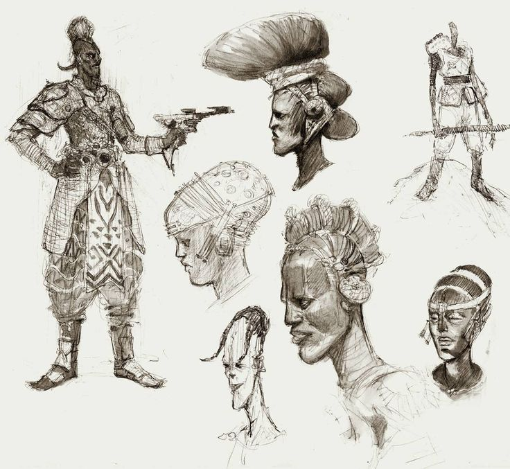 #Mooeti sketches from last night. Im exploring main characters for #Conceptverse  #sketchbook #sketch #drawing #afrikan #himba #tribe #scifi #characterdesign #conceptart #polish