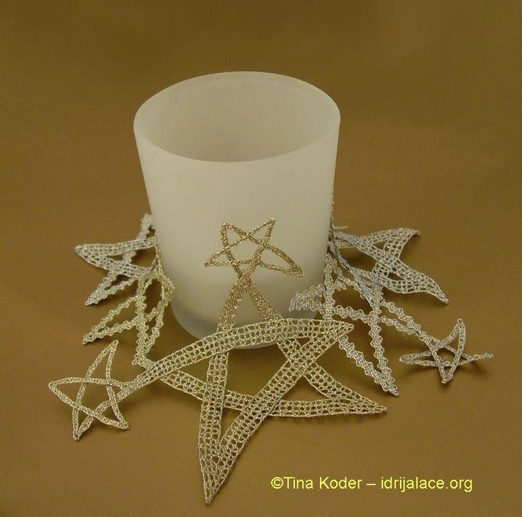 Hand-made Idrija bobbin lace candle decoration