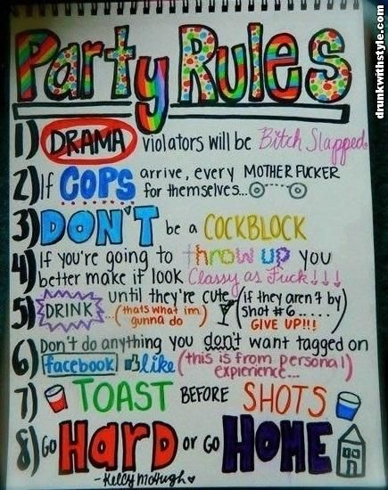 Funny Drunken Awesome Party Rules