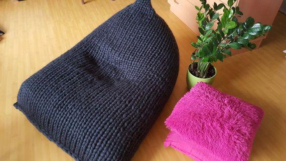 Chunky wool White Knit Adult bean bag / White bean bag by GieMarGa