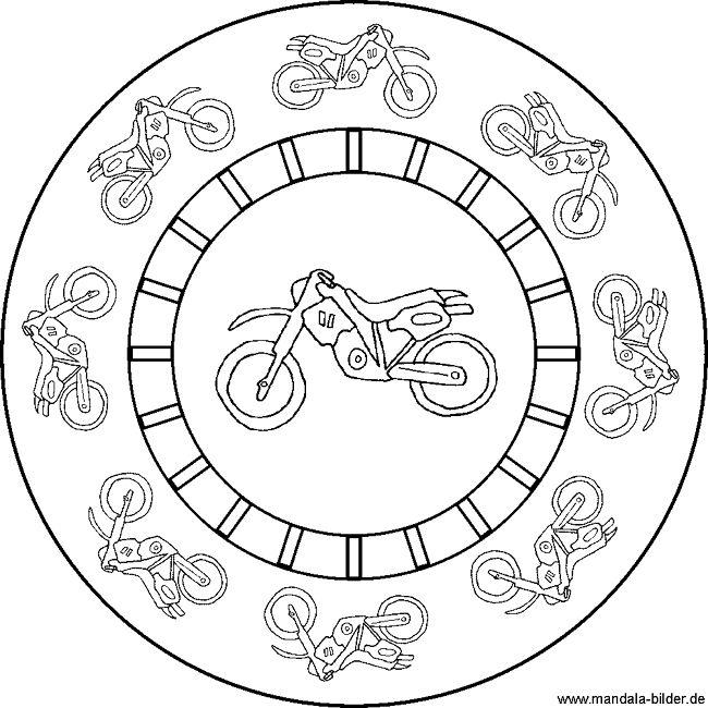 motorrad  mandala malvorlage für kinder  kostenlose