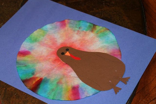 A thanksgiving turkey with a twist. Have the child color a coffee filter and then use a eye dropper to make the feathers in a tie dye affect. Cutting the turkey, coloring, and using the eye dropper all require fine motor skills.    Repinned by Columbus Speech & Hearing Center. For more ideas like this visit http://www.pinterest.com/ColumbusSpeech