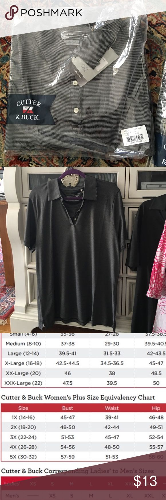 Cutter & Buck ladies golf shirt This is a xxl ladies golf shirt in a dry tec moisture wicking material. Grey and black looks almost silvery. Cutter & Buck Tops Tees - Short Sleeve