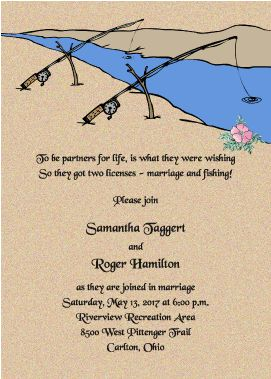 Fishing Themed Wedding Invitations | b3094 partners for life 7 x 5 shown with black