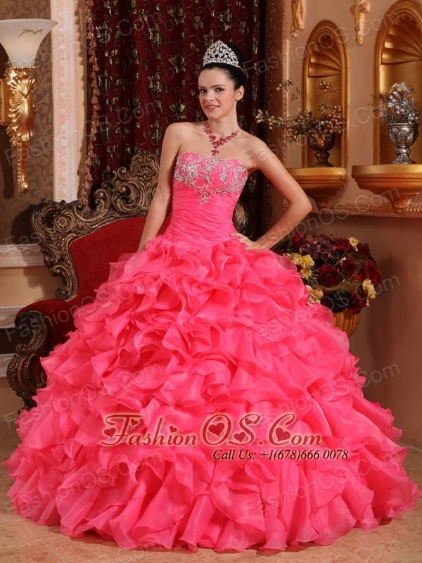 Informal Hot Pink Quinceanera Dress Strapless Organza Beading and Appliques Ball Gown- $232.99