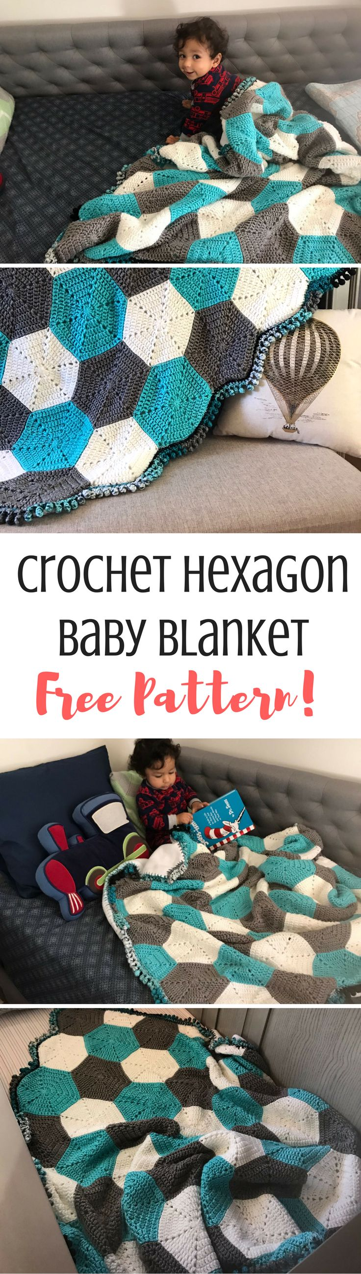 This is a super easy hexagon baby blanket that's going to blow your mind! Look how cool that is! Get the free crochet pattern pf this baby blanket on the blog