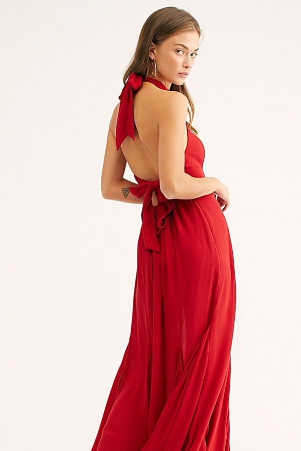 08da3814b6b Zane Maxi Dress - Sleeveless High Neck Red Halter Maxi Dress with Open Back  - Red Maxi Dresses - Red Holiday Dresses - Open Back Maxi Dresses