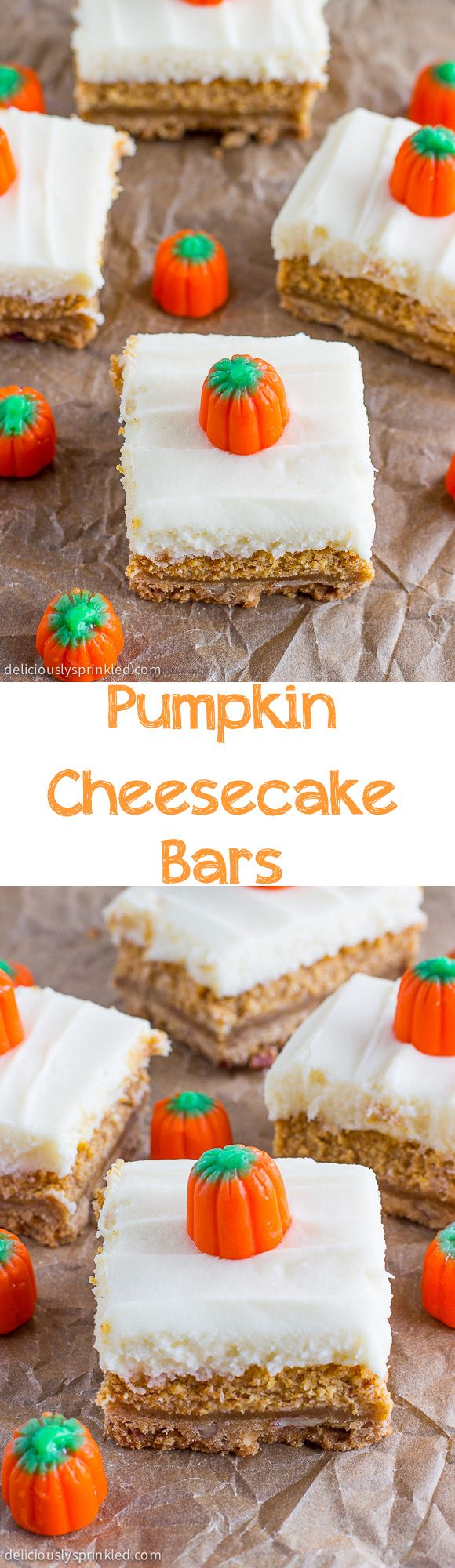 Easy Pumpkin Cheesecake Bars with Cream Cheese Frosting- a favorite family recipe for Thanksgiving.