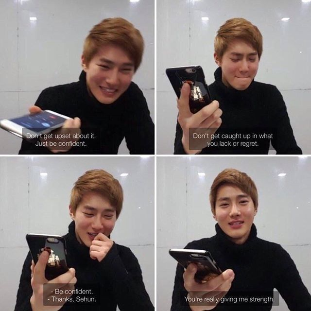 remember when junmyeon was doing a vlive and sehun spotted some hate comments, look how precious this is i love